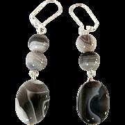 Unique And Beautiful Botswana Agate Dangle Earrings