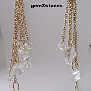 Beautiful Gold And Clear Swarovski Crystal Extra Long Shoulder Sweep Earrings