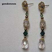 Pretty Clear And Green Swarovski Crystal Dangle Earrings