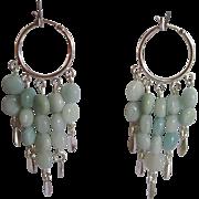 Beautiful Aqua Colored Amazonite Dangle Hoop Earrings
