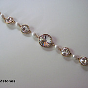 Elegant White Lotus Pearl And Swarovski Crystal Single Strand Bracelet