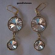 Beautiful Clear Swarovski Crystal Dangle Earrings