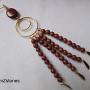 Shimmering Brown Goldstone Extra Long Dangle Earrings
