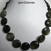 SOLD Beautiful Golden Sheen Obsidian Single Strand Necklace