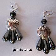 Pretty Grey Hemalyke And Silver Dangle Earrings