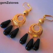 Fancy Black Onyx And Gold Dangle Earrings
