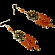 Pretty Reddish Orange Carnelian Dangle Earrings