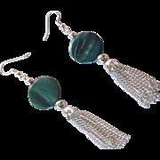 Beautiful Blue Green Mother Of Pearl Tassel Earrings