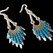 Pretty Electric Blue Chalk Turquoise Long Dangle Earrings