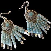 Pretty Aqua Amazonite And Silver Chandelier Earrings