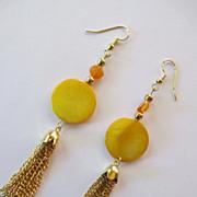 Pretty Yellow Orange Mother Of Pearl Shell And Bright Reddish Orange Tassel Earrings