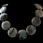Eye Catching Amazonite With Black Tourmaline And Black Onyx Single Strand Necklace