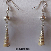 Delicate Silver Electroplated Augar Shell Earrings