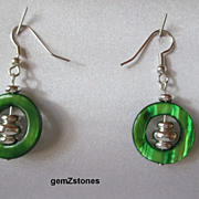 Fun Lime Green Mother Of Pearl Shell And Silver Earrings