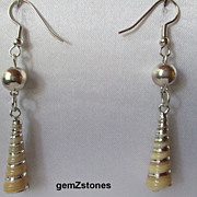 Pretty Silver Electroplated Auger Shell Earrings