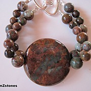Chunky Mint Green And Chocolate Brown Chalcedony Bracelet