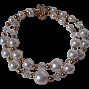 White Swarovski Crystal Pearl And Clear Swarovski Crystal Double Strand Bracelet