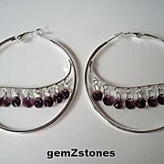 Amethyst Colored Swarovski Crystal Extra Large Hoop Earrings