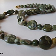 Unique Moss Green Natural Rhyolite Single Strand Necklace