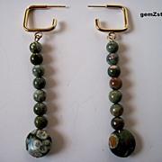 Unique Moss Green Natural Rhyolite Dangle Earrings