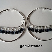 Indigo Blue Swarovski Crystal Extra Large Hoop Earrings