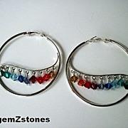 Multi Color Swarovski Crystal Extra Large Hoop Earrings
