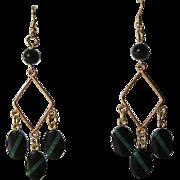 Black Onyx And Malachite Inlay Dangle Earrings