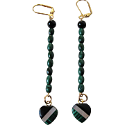 Long Malachite, Black Onyx And Mother Of Pearl Inlay Dangle Earrings