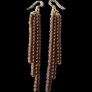 Swarovski Crystal Copper Colored Pearl Dangle Earrings