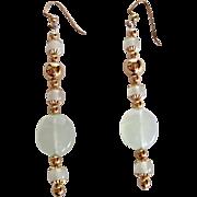 Sea Foam Green Serpentine and Gold Plated Dangle Earrings