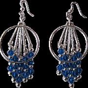 Beautiful Bright Blue Swarovski Crystal And Silver Dangle Earrings