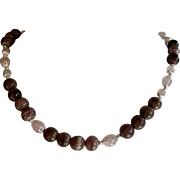 Rose Quartz and Mocha Sea Urchin Bead Necklace