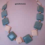 Unique Turquoise Blue And White Magnesite Necklace