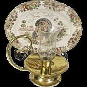 Vintage Baldwin Brass Handled Hurricane Candle Holder USA