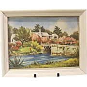 Mid Century Bermuda Somerset Bridge Watercolor Print byCarleton, Framed, 1950's