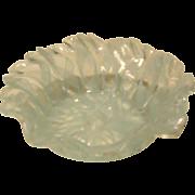 Vintage Lovely Murano Venetian Latticino Art Glass Dish - Small Aqua Blue/White