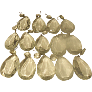 Vintage Crystal Pear Shaped Prisms for Chandeliers Lamps  or Tree Decorations