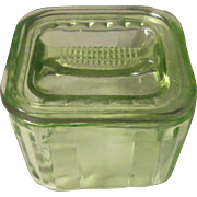 Vintage Green Uranium or Vaseline Glass Square Refrigerator  Container