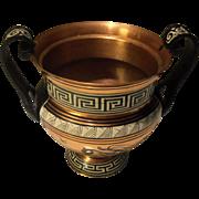 Vintage Copper Urn Vase with black Greek Key Design