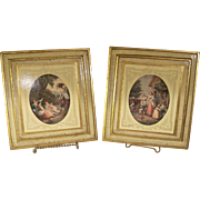 """Vintage Italian Florentine Gilded """"Noonday"""" and """"Morning"""" Scenes"""
