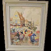 "Vintage Dutch Scene Oil on Canvas ""Picking Tulips"""