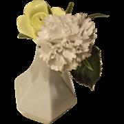 Mini Rosenthal Small WHite Vintage Porcelain Vase Studio Line with Porcelain Flowers