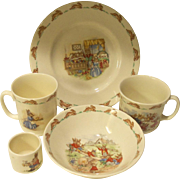 Royal Doulton Bunnykins 5 Piece Collection Albion Shaped