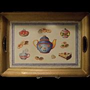 Vintage Lacquered Rectangular Teapot Design Serving Tray