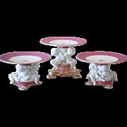 STUNNING Antique English Pedestal Cake Stands Ca.1871