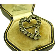 Antique Victorian Silver Foiled Paste Witches Heart Brooch ~ c1890s