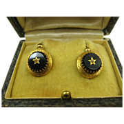 SOLD Rare Antique French Napoléon III Dormeuses Earrings 18k Gold, Jet & Pearl ~ c1860