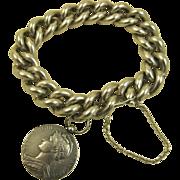 SOLD Art Nouveau French Silver Bracelet & 1910 Medallion Charm ~ Heavy & Superb