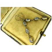 SOLD Superb Antique Silver and Moonstone Pendant Earrings ~ c1900