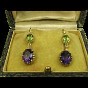 SOLD Fine Victorian Style Amethyst & Peridot Gold Earrings ~ c1930s